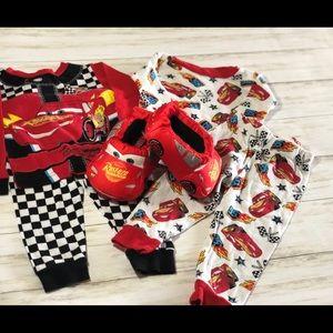 Disney Cars PJ & Slippers Bundle! - 2T & 5-6